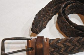 john varvatos/Cotton Leather Mesh Belt/Brown/23,760