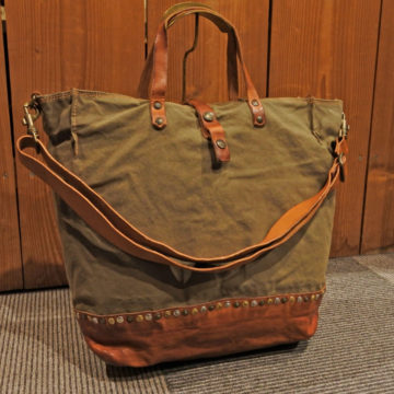 CAMPOMAGGI/CANVAS LEATHER TOTE BAG/34,560