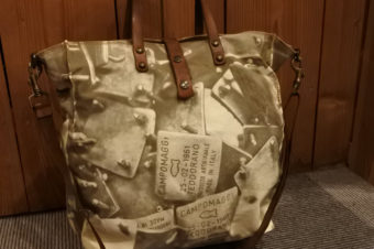 CAMPOMAGGI/FISH CANVAS LEATHER TOTE BAG/42,120