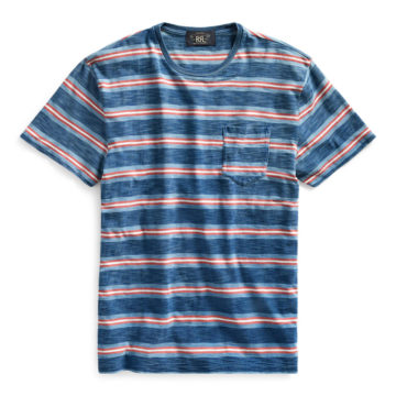 RRL/INDIGO BORDER POCKET Tee/17,280
